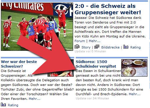 Schlagzeile in 20 Minuten, kurz nach dem 2:0 der Schweiz gegen Südkorea