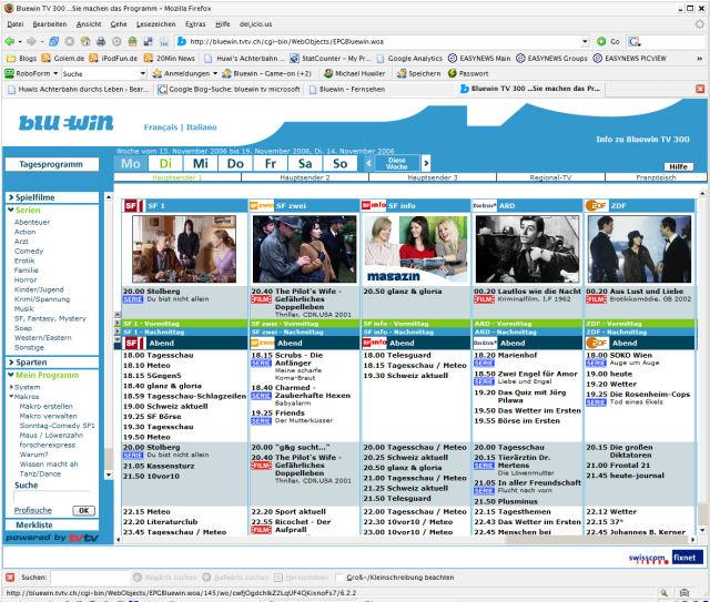 TV300 Webinterface: Übersichtlich, extrem komfortabel.