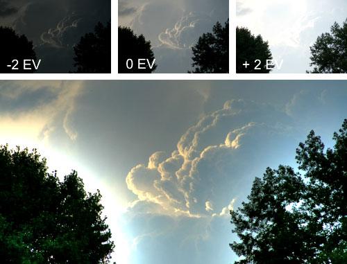 Die drei Aufnahmen und das daraus resultierende HDR-Bild.