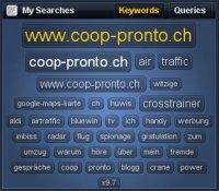In einer Keyword-Wolke werden die beliebtesten Suchbegriffe, welche zu der beobachteten Website führen, visualisiert.