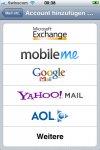 Das iPhone 3G unterstützt verschiedene Account-Typen.
